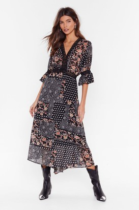 Nasty Gal Womens Patch Me If You Can Mixed Print Maxi Dress - black - 4