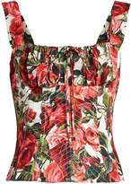 Dolce & Gabbana Rose-print cotton-poplin bustier top