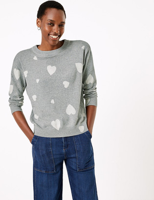 Marks and Spencer Pure Cotton Heart Print Relaxed Fit Jumper