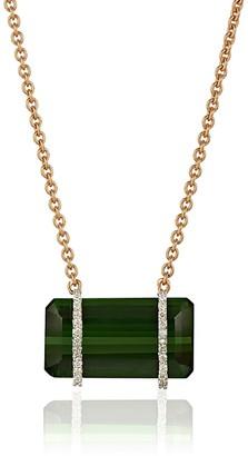 Kaizarin Green Tourmaline Necklace In Rose Gold