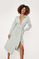 Thumbnail for your product : Nasty Gal Womens Linen Look Tie Front Midi Shirt Dress - Green - 6