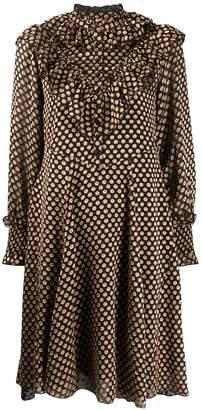 Antik Batik dot fil coupé ruffle dress