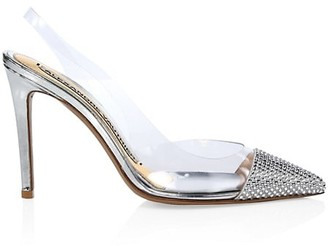 Alexandre Vauthier Amber Crystal-Embellished Vinyl & Metallic Leather Slingback Pumps