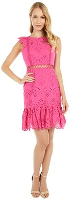 Sam Edelman Eyelet Dress (Hot Pink) Women's Dress
