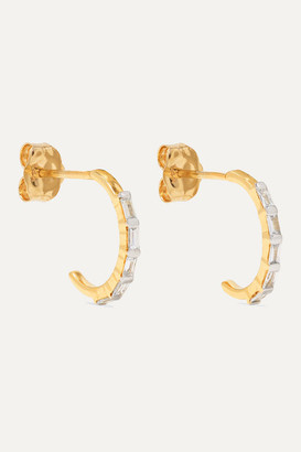 STONE AND STRAND Gold Diamond Hoop Earrings - one size