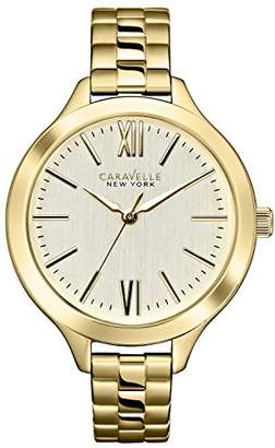 Caravelle New York Carvelle New York Gold Women's Quartz Watch with Champagne Dial Analogue Display and Silver Stainless Steel Bracelet 44L127