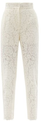 Dolce & Gabbana High-rise Cotton-blend Cordonetto-lace Trousers - White