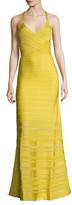 Herve Leger V-Neck Striped Gown