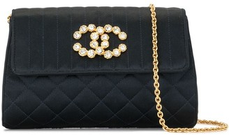 Chanel Pre Owned 1992 quilted rhinestone CC clutch