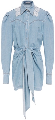 Magda Butrym Wicksville Lace-trimmed Denim Mini Dress