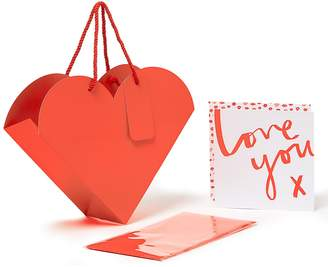 Marks and Spencer Heart-Shaped Valentine Gift Bag with Co-ordinating Card & Tissue Paper