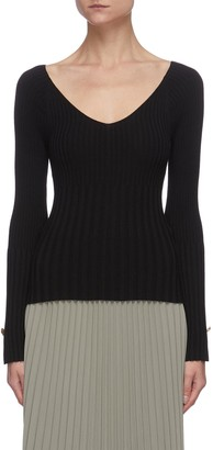 Equil Scoop V Neck Rib Sweater