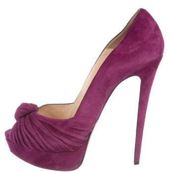 Christian Louboutin Suede Peep-Toe Pumps
