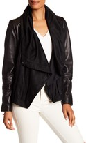 Vince Camuto Oversized Drape Collar Genuine Leather Jacket
