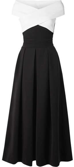 Preen by Thornton Bregazzi Virginia Off-the-shoulder Stretch-cady Midi Dress - Black