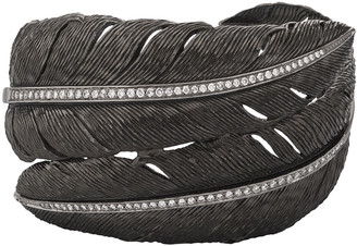 Michael Aram Feather Bypass Bangle with Diamonds in Black Rhodium Plate