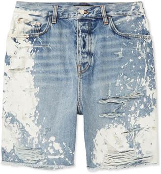 Amiri Distressed Bleached Denim Shorts