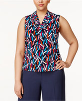 Anne Klein Plus Size Pleated Printed Shell