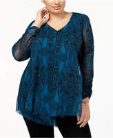 Alfani Plus Size Printed Mesh Top, Created for Macy's