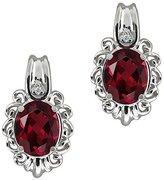 Gem Stone King 2.82 Ct Oval Red Rhodolite Garnet and White Diamond 14k White Gold Earrings