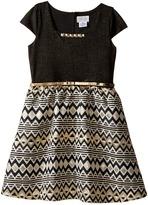 Us Angels Cap Sleeve Beaded Neckline w/ Full Skirt (Big Kids)