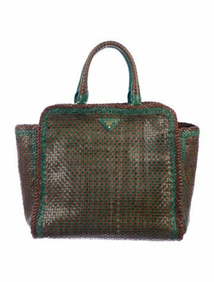 Prada Large Madras Tote Green