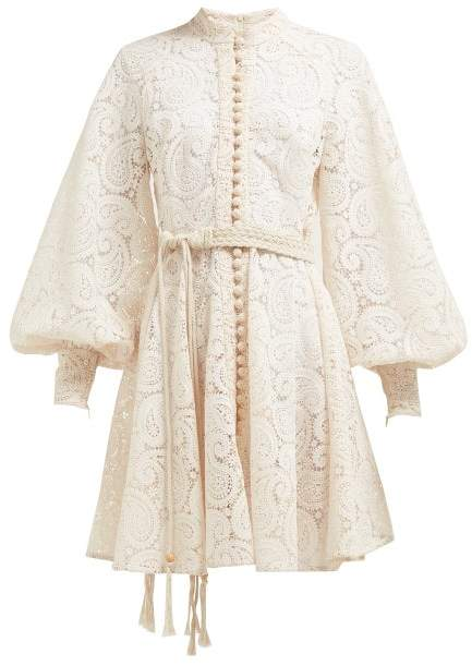 Zimmermann Amari Paisley Crochet Mini Dress - Womens - Cream
