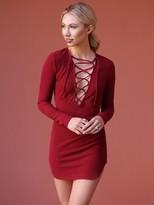 West Coast Wardrobe Vixen Lace Up Body Con Dress in Wine