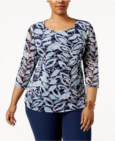 Alfani Plus Size Tiered Printed Mesh Top, Created for Macy's