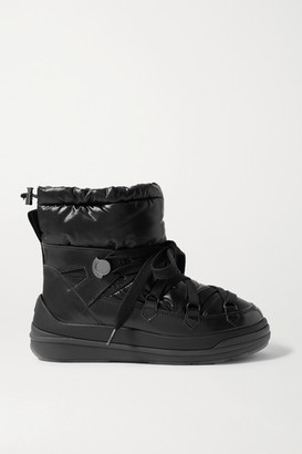 Moncler Florine Leather And Padded Shell Ankle Boots - Black