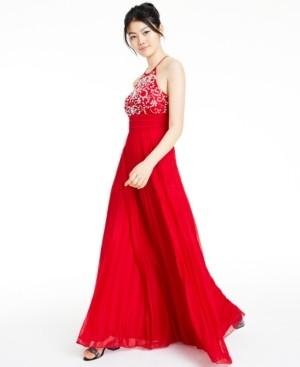 B. Darlin Juniors' Beaded Halter Gown