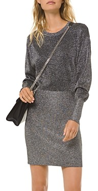 MICHAEL Michael Kors Metallic Long-Sleeve Mini Dress