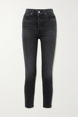 RE/DONE 90s Cropped Frayed High-rise Skinny Jeans - Black