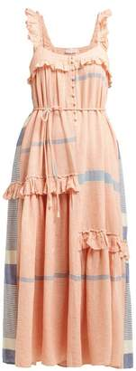 Apiece Apart Lypie Tiered Ruffle Striped-cotton Maxi Dress - Womens - Red