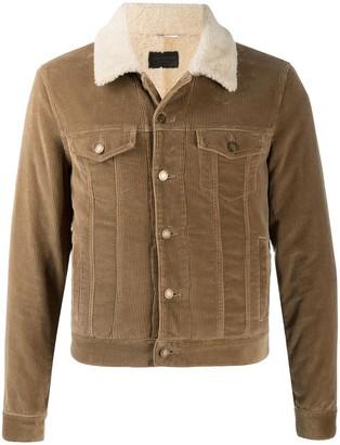 Saint Laurent Shearling Collar Corduroy Jacket