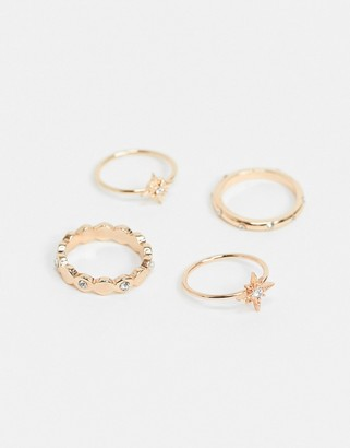 Pieces 4 pack mixed rings in gold