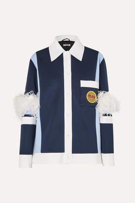 Miu Miu Feather-trimmed Color-block Neoprene Jacket - Navy