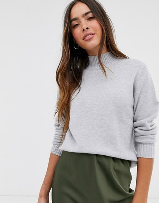 Vila knitted sweater with high neck in gray