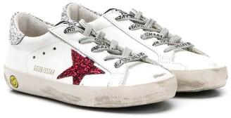 Golden Goose Kids Superstar glitter-embellished sneakers