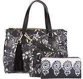 Dena Double Top Zip Satchel Handbag w/ Pouch and Bi-Fold Wallet