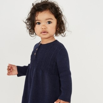 The White Company Knitted Dress, Blue, 12-18mths