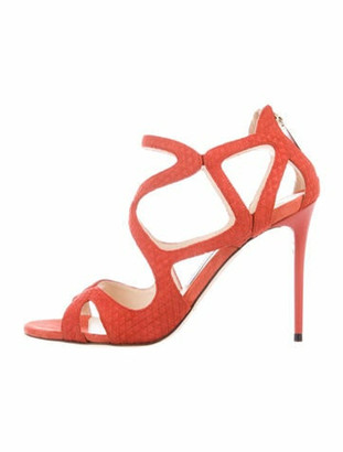 Jimmy Choo Suede Sandals Orange