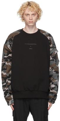 Juun.J Black and Camo Print Sweatshirt
