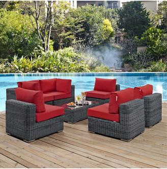 Modway Outdoor Summon 7Pc Outdoor Patio Wicker Rattan Sunbrella Sectional Set