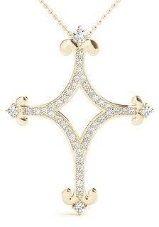 14KT 0.35 CT Fancy Design Diamond Cross Pendant Necklace Amcor Design