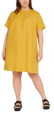 Eileen Fisher Plus Size All Linen Sheath Dress