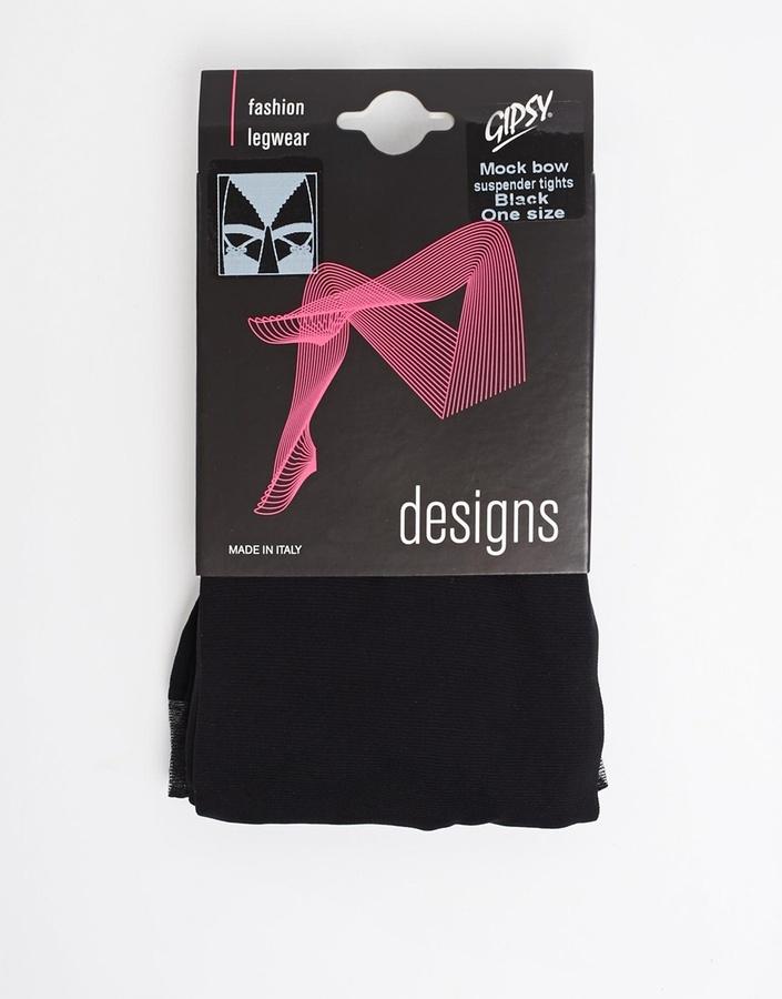 Gipsy Mock Bow Suspender Tights