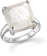 Ippolita Sterling Silver Wonderland Medium Square Stone Ring in Clear Quartz and Mother-of-Pearl Doublet