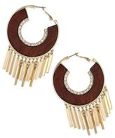 Thalia Sodi Gold-Tone Crystal & Wood Fringed Hoop Earrings, Created for Macy's