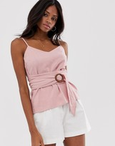 Asos Design DESIGN linen cami with wrap around waist and buckle detail